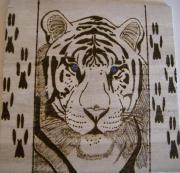 bois marqueterie animaux tigre portrait felin : tigre