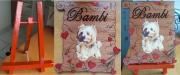bois marqueterie animaux coeur funeraire animaux souvenirs : petit chien bambi