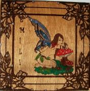 bois marqueterie personnages fee arabesque prenom nature : fée pour une amie