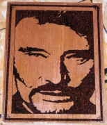 bois marqueterie personnages johnny halliday celebrite portrait pyrogravure : Johnny Halliday