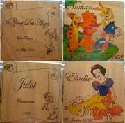 bois marqueterie personnages winnie blanche neige cheval porcinet : plaques enfants + cheval: is good des alizés et julot