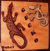 bois marqueterie animaux gecko lezard reptile nom : gecko personnalisé