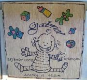 bois marqueterie personnages bebe personnalise jouet naissance : Plaque de naissance 1