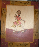 bois marqueterie personnages africaine afrique desert tableau : Africaine
