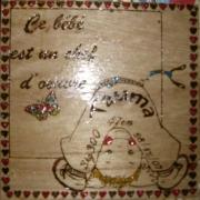 bois marqueterie personnages bebe naissance prenom : Plaque de naissance 2