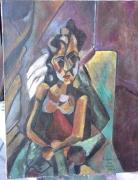 tableau personnages picasso copies tableaux : Copie Picasso femme au fauteuil 1909