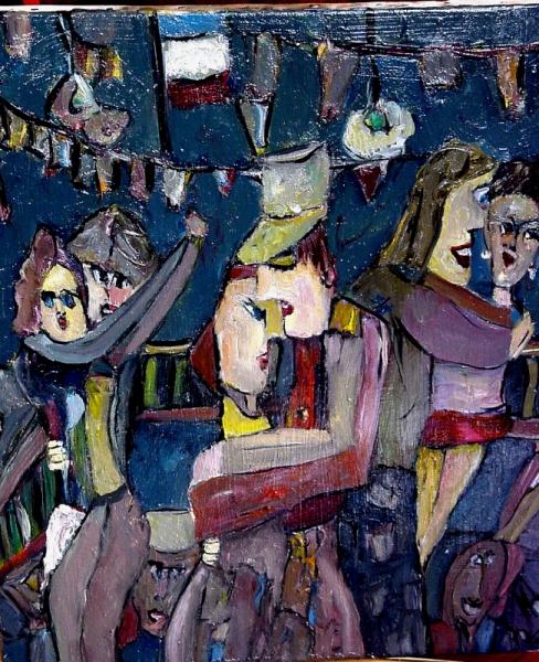 TABLEAU PEINTURE bal 14 juillet Saint Ouen service militaire Scène de genre Peinture a l'huile  - Bal du 14 juillet 1973