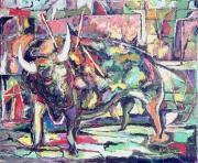 tableau animaux corrida taureau matador : MORT A BARCELONE