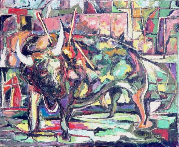 TABLEAU PEINTURE CORRIDA TAUREAU matador Animaux Peinture a l'huile  - MORT A BARCELONE