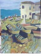 tableau marine guethary surf pays basque : Le port de Guethary