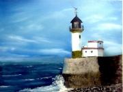 tableau paysages paysage phare ocean mer : phare du Tréport