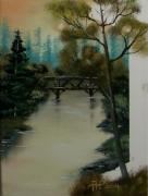 tableau paysages couche soleil paysage riviere : le pont de bois