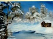 tableau paysages hiver cabane chasse paysage : La cabane du chasseur
