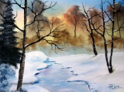 tableau paysages neige lac foret hiver : Hiver en Adennes
