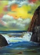 tableau marine mer ocean falaises vagues : Les Falaises