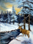 tableau animaux chasse cerf ardennes paysage : Chasse en Ardennes