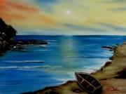 tableau paysages lagon barque lac plage : Le lagon
