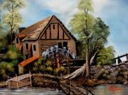 tableau paysages moulin ,a eau lavandiere paysage roue : moulin a eau