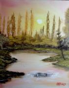 tableau paysages couche de soleil paysage riviere arbres : couché de soleil