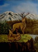 tableau animaux cerf cervides chasse paysage : Famille cervidés