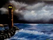 tableau marine phare claire de lune paysage mer ocean : Claire de lune sur le phare