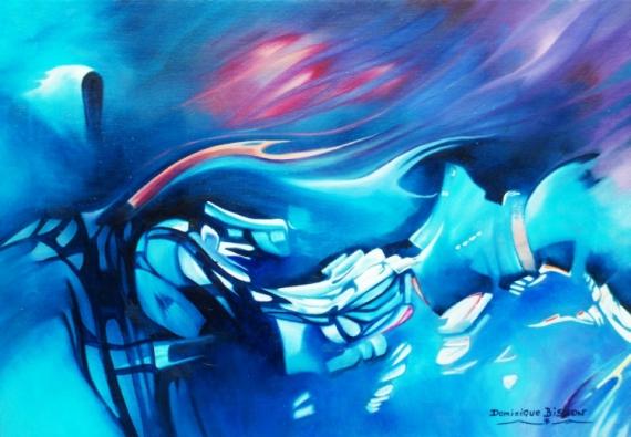 TABLEAU PEINTURE bleu rose Abstrait Peinture a l'huile  - 40  Tensions