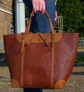 art textile mode cabas cuir tresse sac : CABAS CHANTILLY CUIR marron tressé