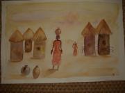dessin personnages femmes afrique ensemble sable : Femmes afriques