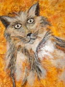 tableau animaux animaux chat toile soie : LE CHAT