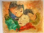 tableau personnages maman enfant maternite amour : THIBETAINE A L'ENFANT
