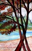 tableau paysages chÊnes rouges nature bois alain faure en peint : LES CHÊNES ROUGES