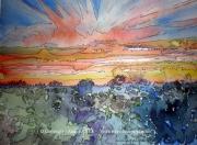 tableau paysages alain faure en peinture aquarelle musique : COUCHANT DES AMOURS