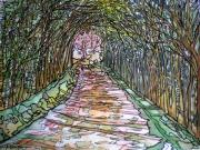 tableau paysages alain faure en peinture aquarelle musique : L'ALLEE ROSE