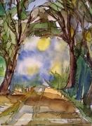 tableau paysages alain faure en peinture aquarelle musique : L'APPEL DE LA FORÊT
