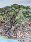 tableau paysages alain faure en peinture aquarelle musique : SENTIER DU LITTORAL