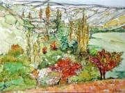tableau paysages alain faure en peinture aquarelle musique : CEVENNES
