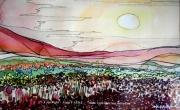 tableau paysages nature rouge dutronc amour alain faure en peint : ALLONGES DANS L'HERBE