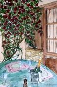 tableau scene de genre en terrasse terrasse restaurant alain faure en peint : EN TERRASSE