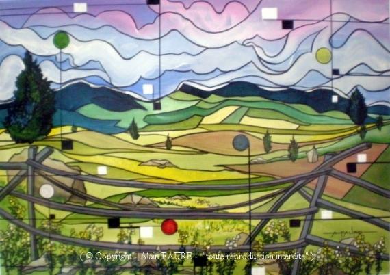 TABLEAU PEINTURE ENFANCE EVASION NATURE ALAIN FAURE EN PEINT Paysages Acrylique  - JARDINS D'EVASION