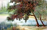 tableau paysages alain faure en peinture aquarelle musique : L'ERABLE ROUGE