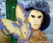 tableau personnages carnaval venise farfalla alain faure en peint : FARFALLA