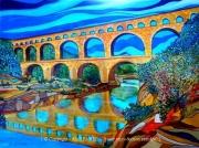 tableau paysages pont du gard gard occitanie alain faure en peint : PONT DU GARD