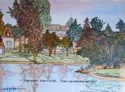 tableau paysages jardins deau parcs etangs alain faure en peint : JARDINS D'EAU