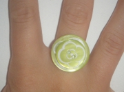 bijoux autres bague bouton vert fleur : Bagues