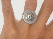 bijoux autres bague bouton metal gris : Bagues