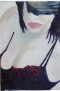 tableau personnages femme seins bouche cheveux : Volupté