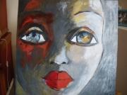 tableau personnages yeux bouche afrique gris : visage