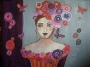 tableau personnages chapeau rose tendresse papillons : tendresse