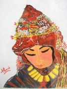 tableau personnages hautatlas femme amazigh maroc : Femme de Ait Hdidou