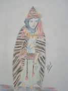 dessin personnages maroc jeune fille amazigh atlas : Jeune fille Amazigh